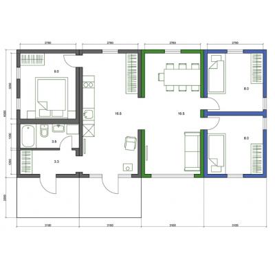 Casa modulare con 5 camere, piano piano