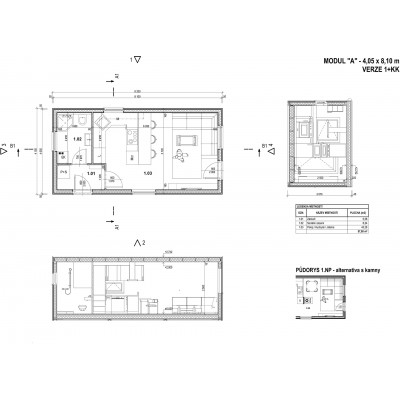 Casa modulare 1 camera - piano di vista